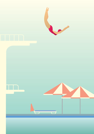 Creative conceptual vector. Woman jumping in the pool.