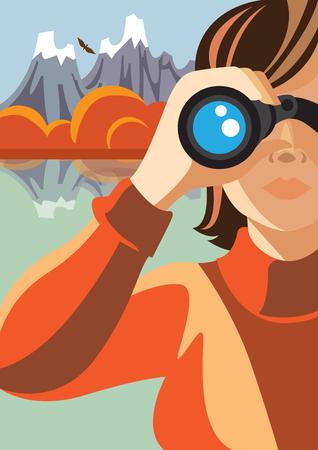 advertising woman: Creative conceptual vector. Woman looking through the binocular.