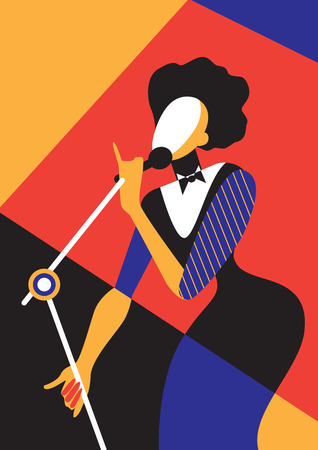 Creative conceptual vector. Singing woman. Stock Illustratie