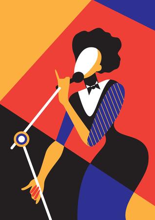 Creative conceptual vector. Singing woman. Vettoriali