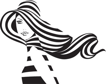 maillot de bain: Vector conceptuel créatif. Femme dans le chapeau.