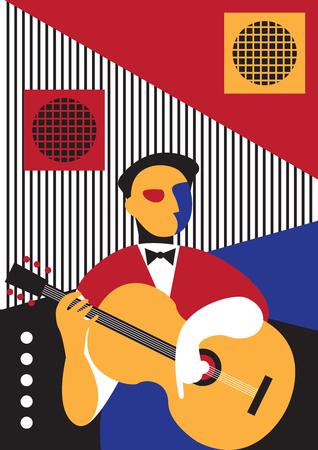 Creative conceptual vector. Man playing musical instrument.