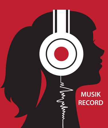 Creative conceptual vector. Woman listening to the music in headphones.