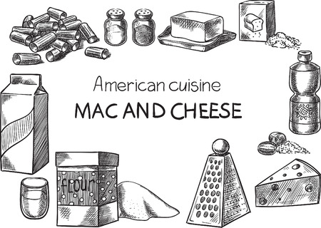 Creative conceptual vector. Sketch hand drawn american food recipe illustration, engraving, ink, line art, vector.