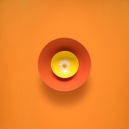 Creative concept photo of kitchenware, painted plate with food on it on orange background.