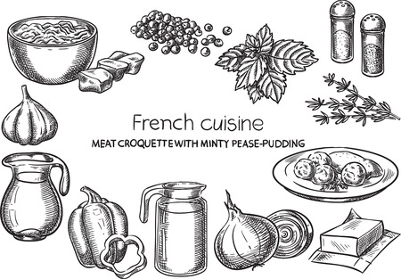Sketch hand drawn french food recipe illustration