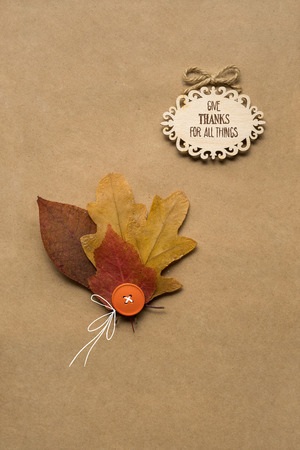 Creative thanksgiving day concept photo of leaves on brown background.