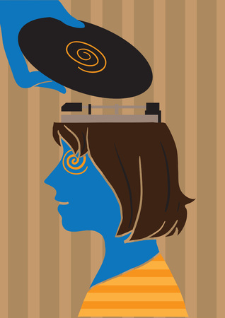 Creative conceptual vector. Woman with a vinyl player on her head. Ilustrace