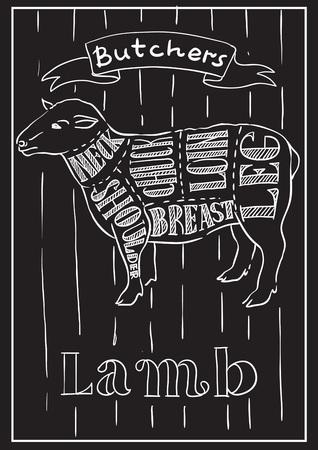 Vecteur conceptuel créatif. Croquis de viande dessinés à la main au boucherie boutique illustration de recette, craie, encre, dessin au trait, vector