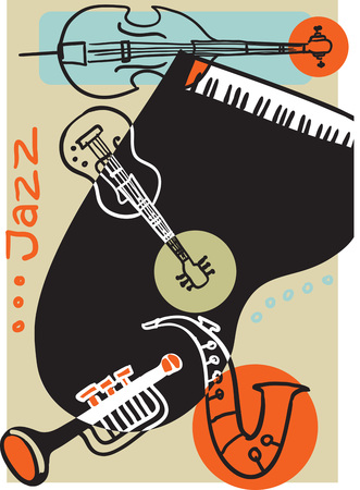 Creative conceptual music festival with musical instruments vector illustration