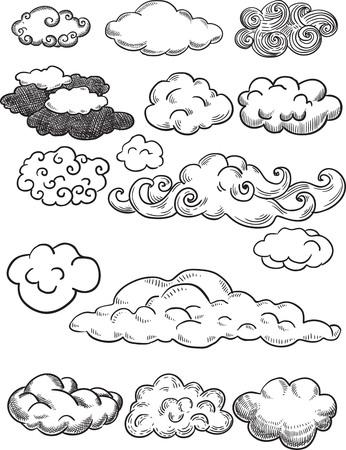 Creative conceptual vector. Sketch hand drawn clouds illustration, engraving, ink, line art, vector.