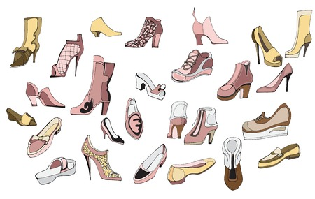 Creative conceptual vector. Womans shoes drawing illustration.