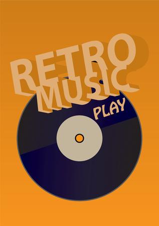 Creative conceptual retro music vector. Vinyl on yellow background. Illustration