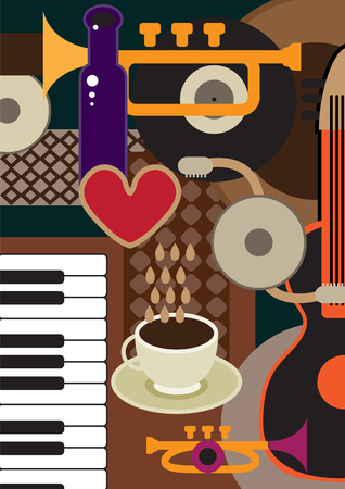 Creative conceptual music festival vector. Musical instruments and coffee. Illustration
