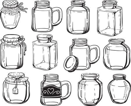 クリエイティブな概念ベクトル。描かれた瓶セット。  イラスト・ベクター素材
