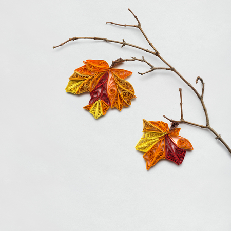Creative thanksgiving day concept photo of a branch with leaves made of paper on white background. Stock Photo - 95969240