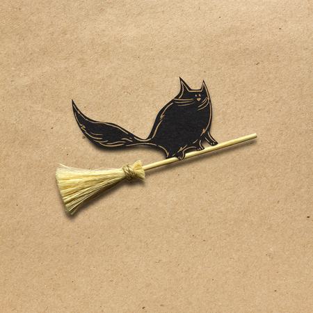 Creative halloween concept photo of a cat on a broom made of paper on brown background.