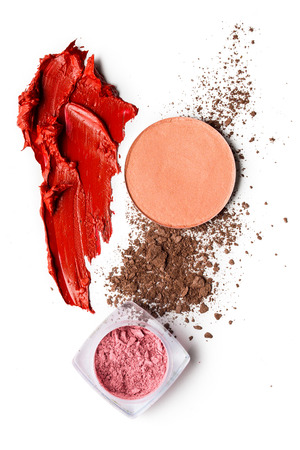 Creative concept photo of cosmetics swatches on white background. Stockfoto - 96217153