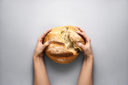 Creative concept photo of hands holding bread on grey background.