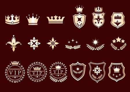 Creative conceptual vector. Set of crown logos and icons. Stock Vector - 102501703