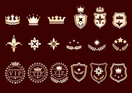 Creative conceptual vector. Set of crown logos and icons. Illustration