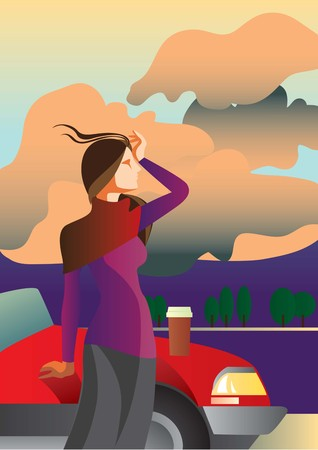 Creative conceptual vector. Woman standing near the car with a take away coffee.