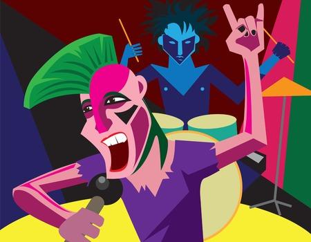 Creative conceptual music festival. Band playing punk rock music. Illustration