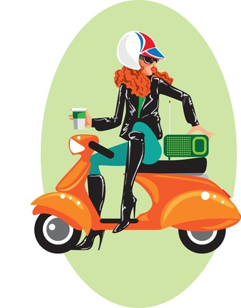 Mujer sentada en vespa con un café para llevar. Vector conceptual creativo.