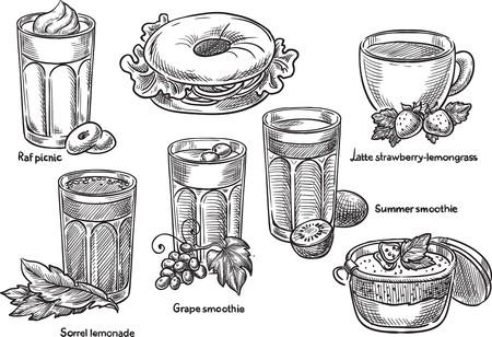 Sketch hand drawn beverages illustration, engraving, ink, line art. Creative conceptual vector. Illustration