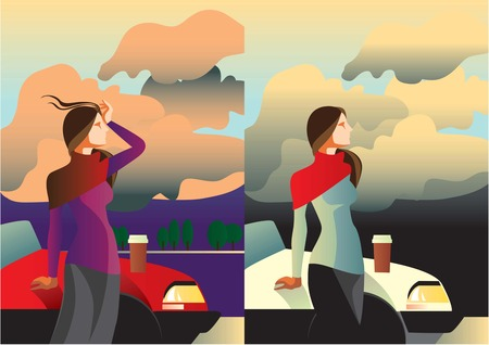 Creative conceptual vector set. Woman standing near the car with a take away coffee.