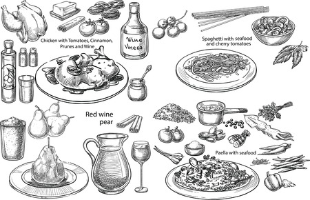 Creative conceptual vector set. Sketch hand drawn set of 4 bestseller Mediterranean dishes pasta chicken wine vegetables seafood illustration, engraving, ink, line art, vector.