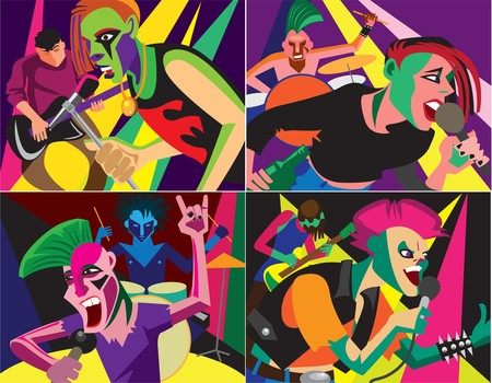 Creative conceptual music festival vector set. Band playing punk rock music.