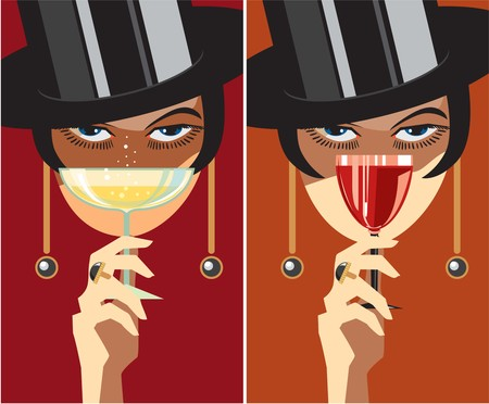 Creative conceptual vector set. Woman with a glass of wine.