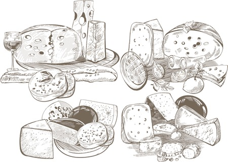Creative conceptual vector set. Sketch hand drawn different sorts of cheese wine spices vegetables illustration, engraving, ink, line art, vector. Ilustração