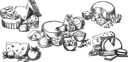 Ensemble de vecteur conceptuel créatif. Croquis dessinés à la main différentes sortes d'illustration d'épices tomate fromage, gravure, encre, dessin au trait, vecteur.