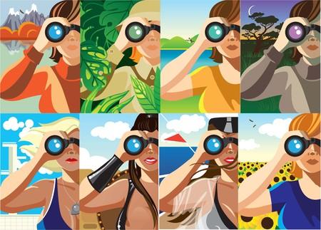 Creative conceptual vector set. Woman looking through the binocular.