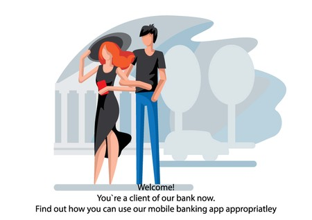 Creative conceptual business banking finance vector illustration. Man and woman standing together using mobile banking app.