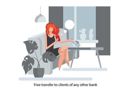 Creative conceptual business banking finance vector illustration. Woman using mobile banking app. Foto de archivo - 121291832