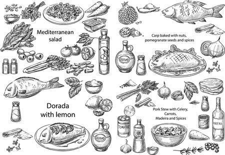 Insieme di vettore concettuale creativo. Schizzo disegnato a mano diversi piatti mediterranei insalata pollo pesce maiale stufato verdure frutti di mare illustrazione, incisione, inchiostro, linea arte, vettore. Archivio Fotografico
