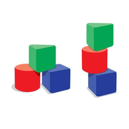 blocks: Tree geometry brocks, Vector Illustration Illustration