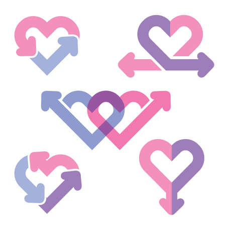heart health: Heart line icons, Vector Illustration