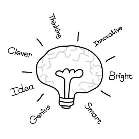 illustation: Bulb Brain incon with idea concept, vector illustation