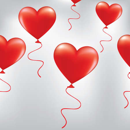 red balloons: red Heart-shaped balloons background ,Vector Illustration