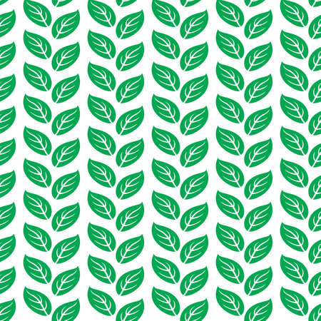 leafage: Green leaves seamless pattern. vector illustration isolated on white background. Illustration
