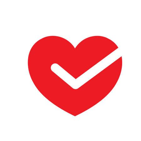 心臓、白で隔離のベクトル図のマークをチェックします。