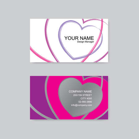 office romance: Business card. colorful heart vector illustration