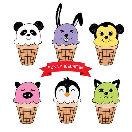 sherbet: cute ice cream cones that look like animals. Vector illustration Illustration