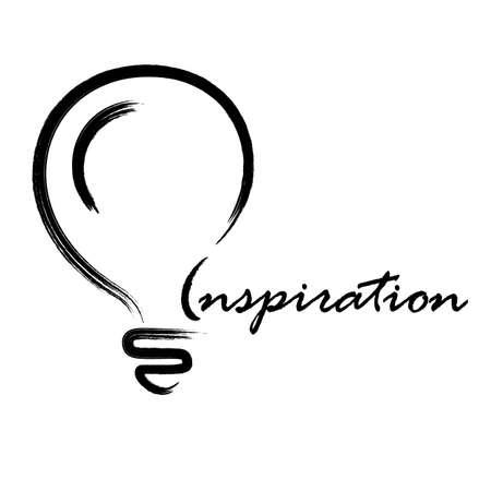 ampoule électrique de main dessiné pinceau noir isolé sur un fond blanc