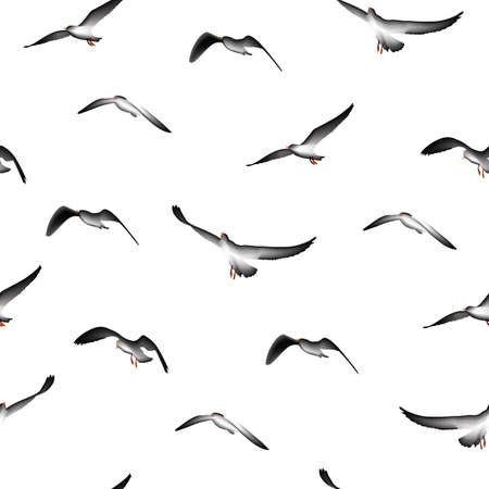 Vögel nahtlose Muster, Illustration isoliert auf weißem Hintergrund fliegen.