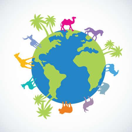 advocacy: Illustration of Animals Walking Around a Globe